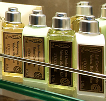 Premium L'Occitane bath products.