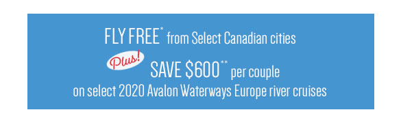 Receive Free Airfare or Save $2,600 per couple on select 2020 Europe river cruises; PLUS Receive a Free land extension in Budapest, Prague, Vienna or Munich on select 2020 Danube sailings